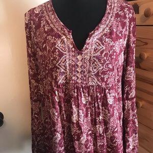 KNOX ROSE paisley floral boho blouse